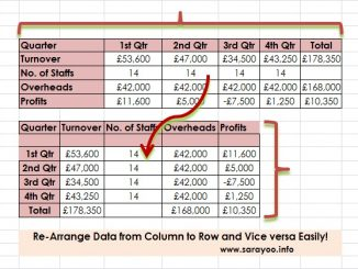 transposing data in ms excel